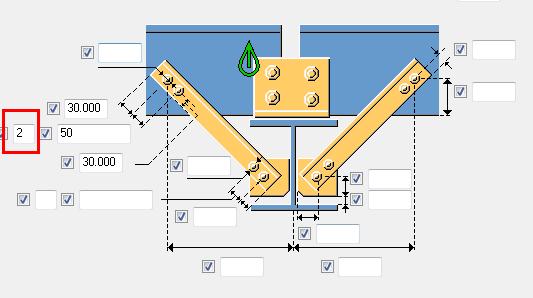 tekla16.1系统隅撑节点怎么在檩条上冲出两排孔