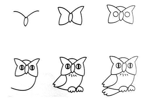 猫头鹰简笔画带颜色