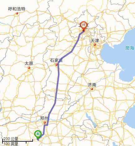 平顶山在地图上离北京有多远?