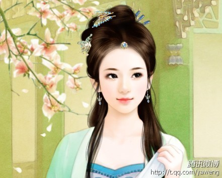 求古代美女手绘丹青,清纯型