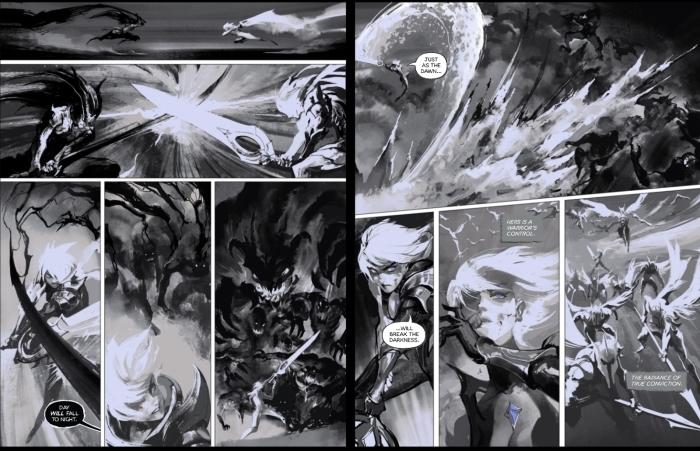 LOL黎明使者锐雯、黑夜使者亚索传奇对决事件官方漫画出炉