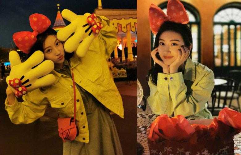 景甜晒九宫格美照庆生,迪士尼中的仙女本仙!