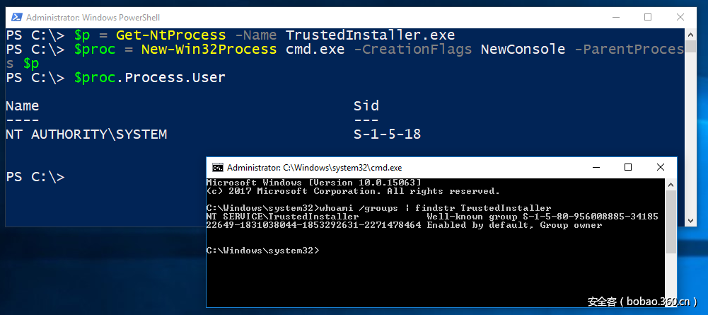 PowerShell window showing successful process creation from parent process