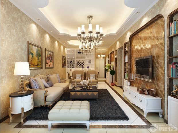 欧式风格的客厅,白色的酒柜