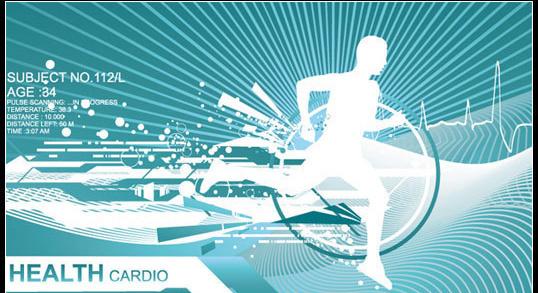 跑步运动人物与动感线条矢量素材维奇网ww