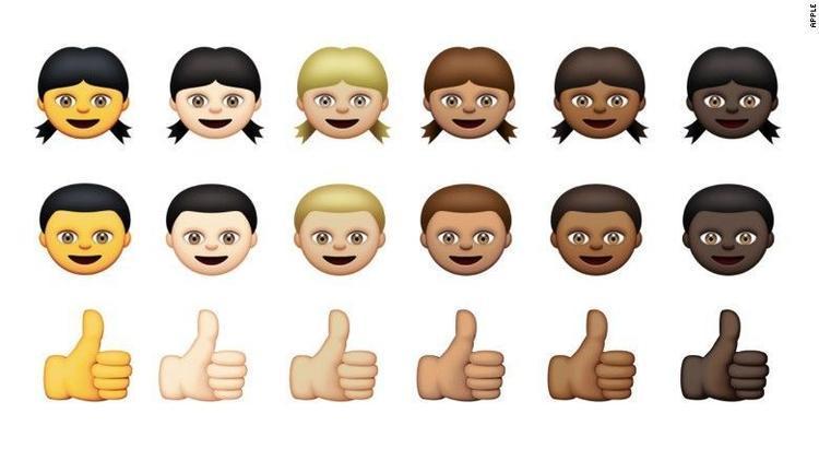 """这是六种肤色的""""女人""""""""男人""""""""大拇指""""表情排列.图片"""