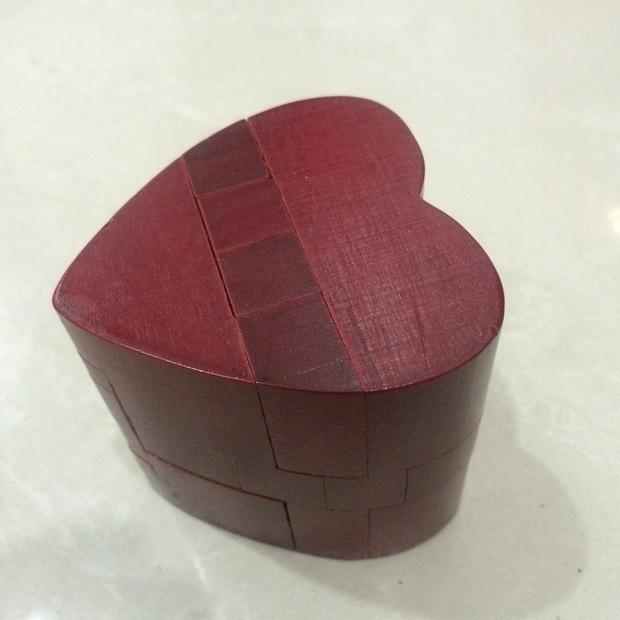 6gm红色心锁孔明锁鲁班锁情人节礼物成人益智解锁摆件