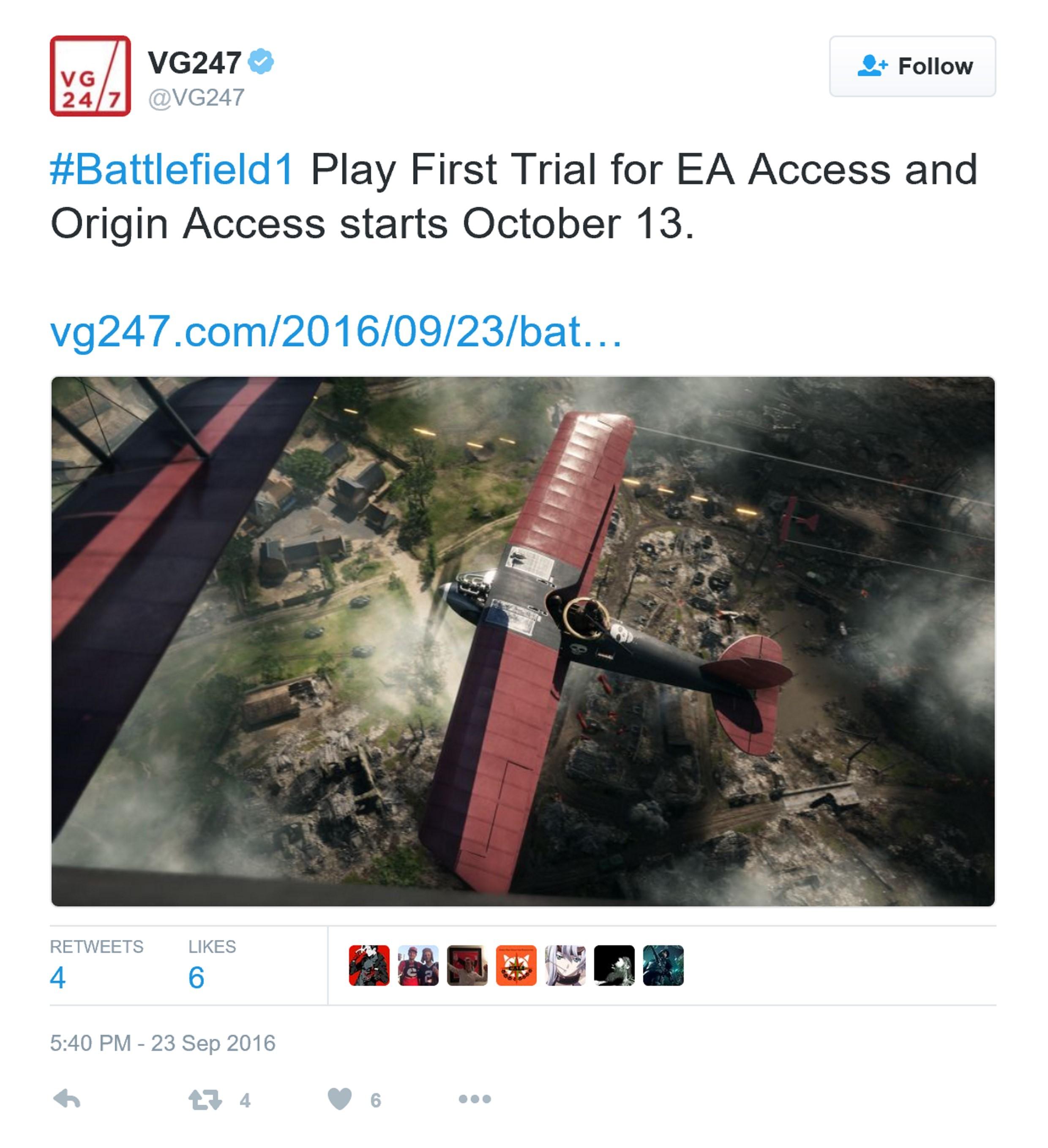 《战地1》试玩版10月开放
