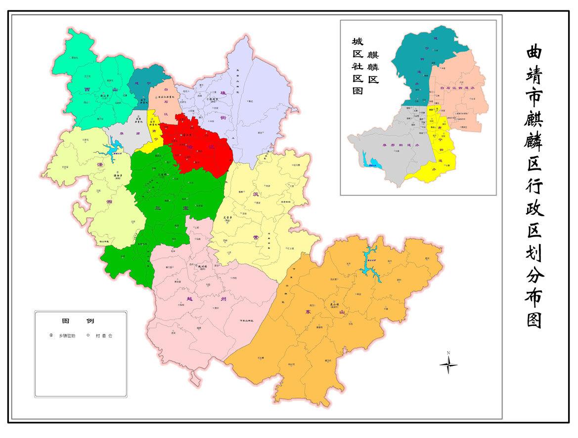 麒麟区行政区划图; 大理旅游地图;