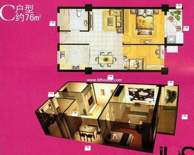 室内60平米小户型长方形公寓房求装修平面图,谢谢