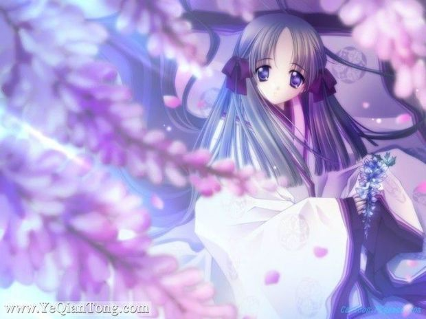 谁有紫色头发的动漫女生图片?