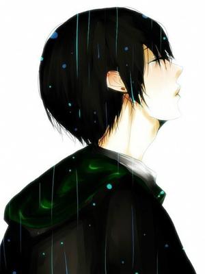雨中哭泣的动漫图要男生的