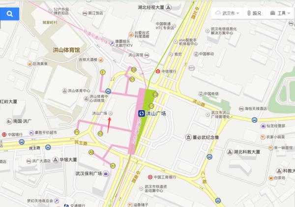 武汉洪山广场在地铁中南路要从哪个出口出去?