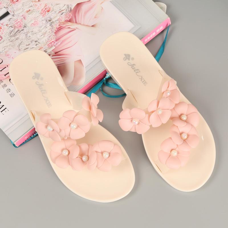 【新款山茶花凉鞋】夏季时尚透明花朵沙滩鞋
