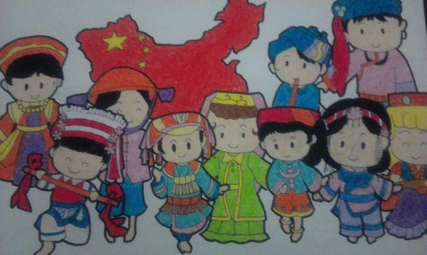 初中国庆节绘画作品