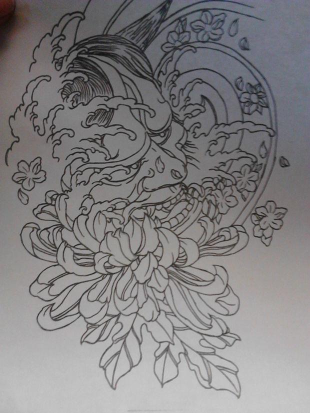 求这张般若纹身手稿最好带效果的.