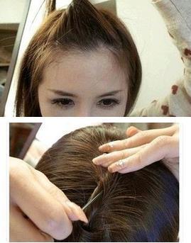 扎有刘海的好看的头发