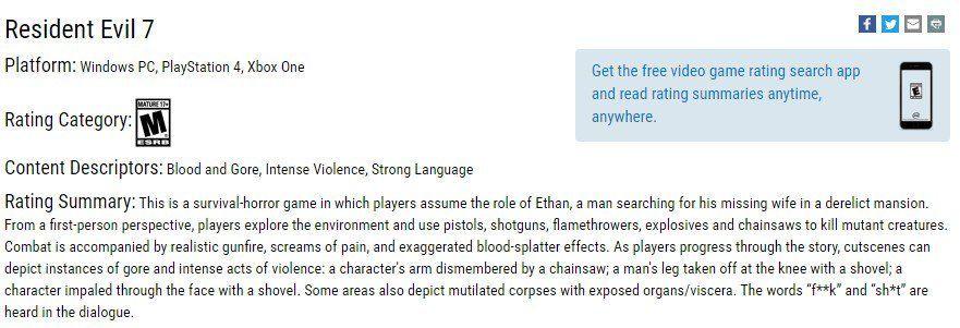 《生化危机7》ESRB评级出炉