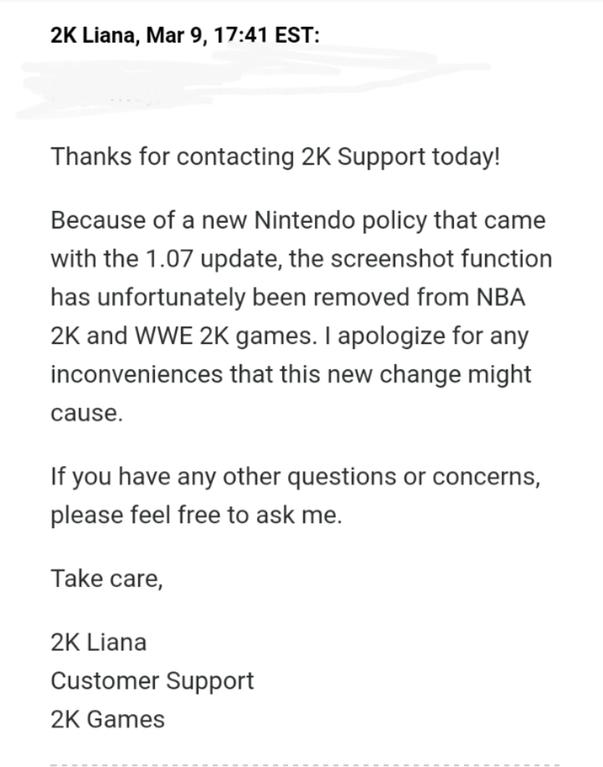 任天堂出台新政策 导致Switch版的《NBA 2K18》取消截图功能