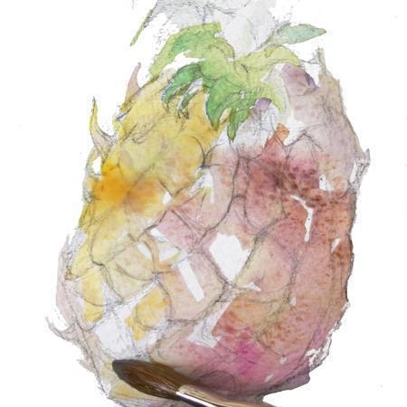 步骤5:亮面根据菠萝外表皮的结构涂橙黄色.
