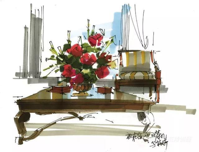 手绘设计 - 室内空间陈设,配饰马克笔表现