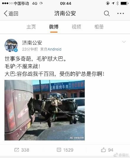 """【独家】济南公安官微疑回应""""辱母杀人案""""  暗讽网友是驴?"""