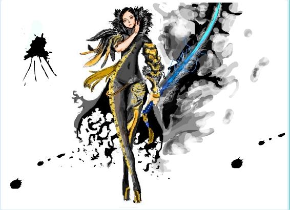 电脑绘画动漫人物时拿的剑特效怎么画!就是一个人拿着
