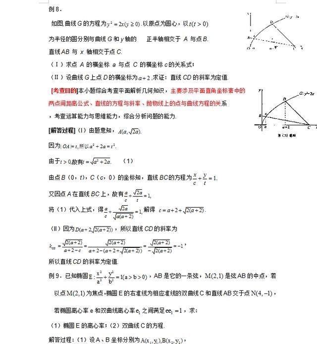 高中高中:解析几何题型汇总,逢考必出,吃透比盲思南的数学图片