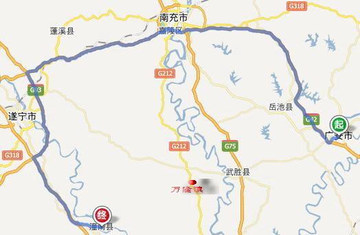 广安到潼南高速路会经万隆镇吗